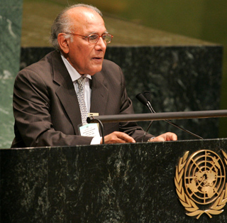 Chairman RSPN Shoaib Sultan Khan addressing the UN General Assembly